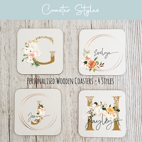 Personalised Wooden Coasters - Copper & Floral