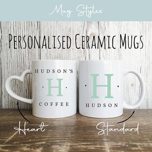 Personalised Mugs - Coloured Initial