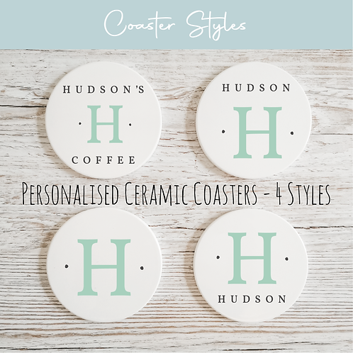 Personalised Ceramic Coasters - Initials