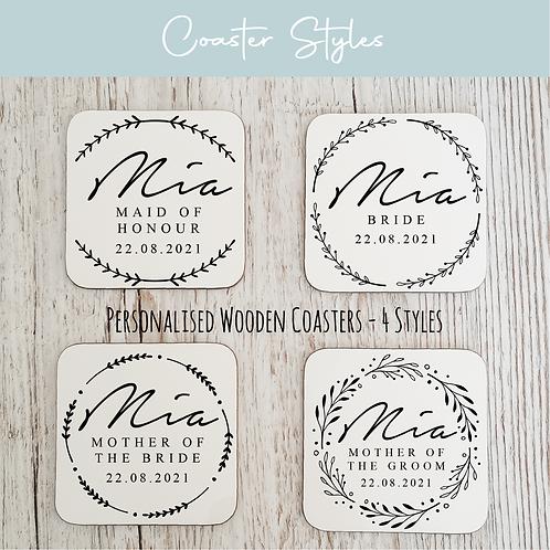 Personalised Wooden Coasters - Wreath