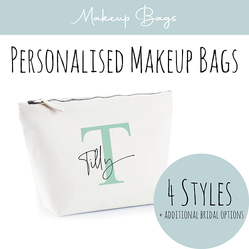 Canvas Makeup Accessory Bag - Personalised Initial + Name