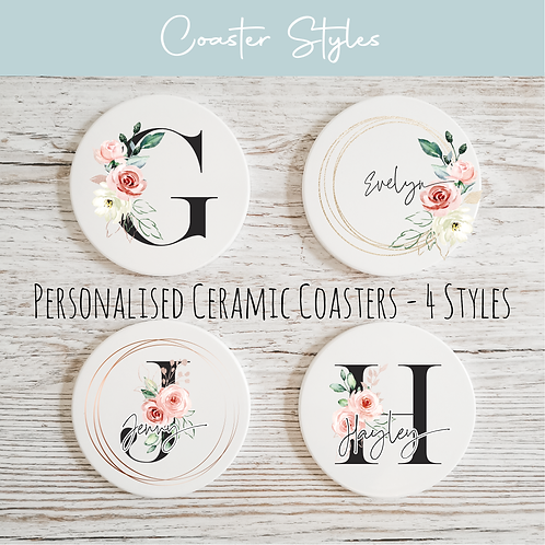Personalised Ceramic Coasters - Black & Floral