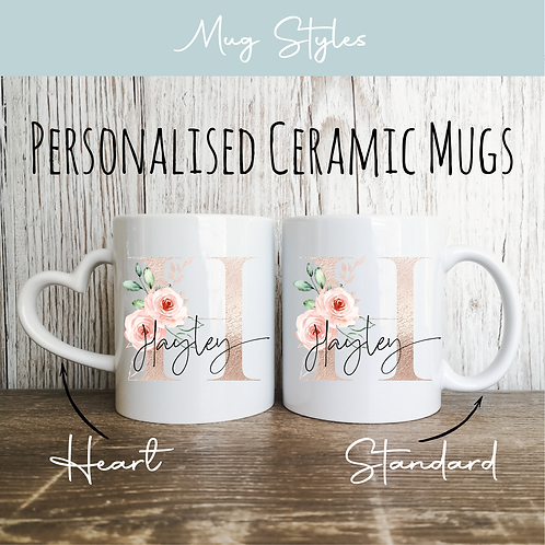 Personalised Mugs - Rose Gold & Blush