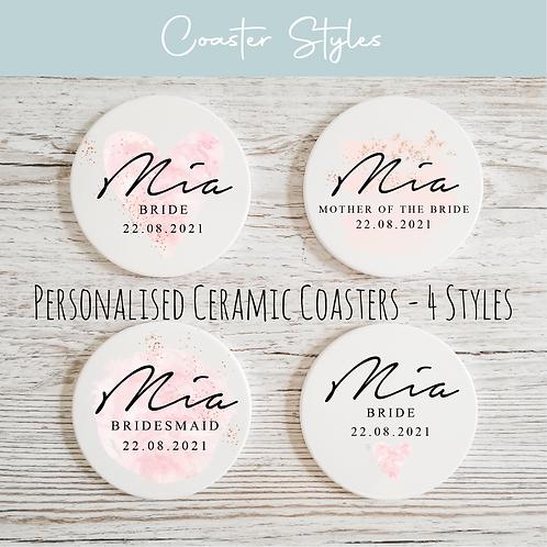 Personalised Ceramic Coasters - Blush