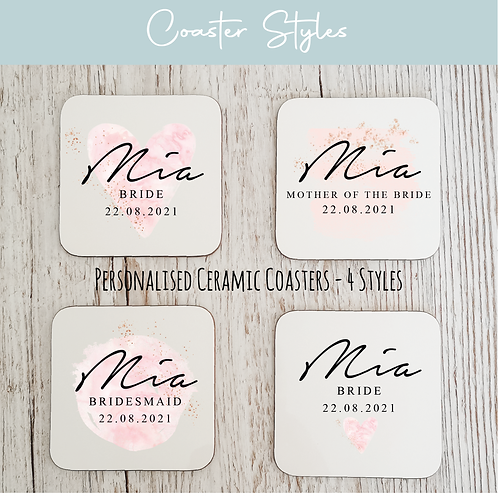 Personalised Wooden Coasters - Blush