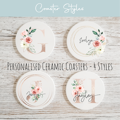 Personalised Ceramic Coasters - Rose Gold & Floral