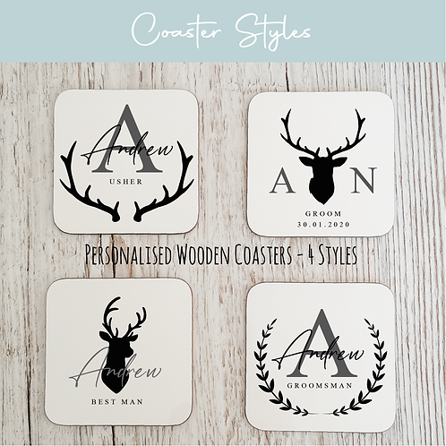 Personalised Wooden Coasters - Stag
