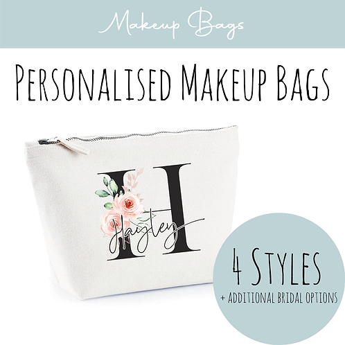 Canvas Makeup Accessory Bag - Personalised Black & Floral