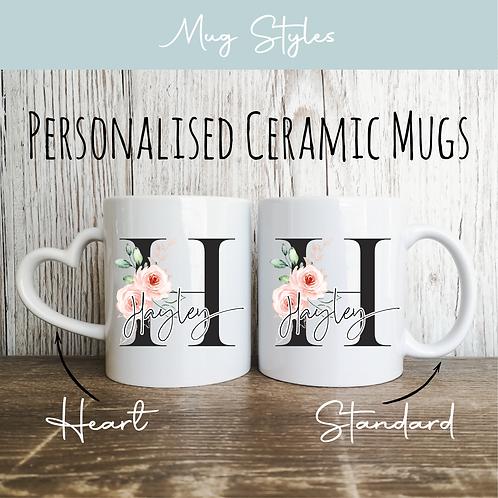 Personalised Mugs - Black & Floral