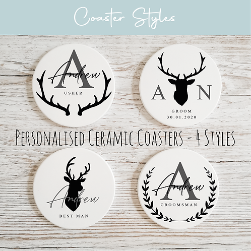 Personalised Ceramic Coasters - Stag