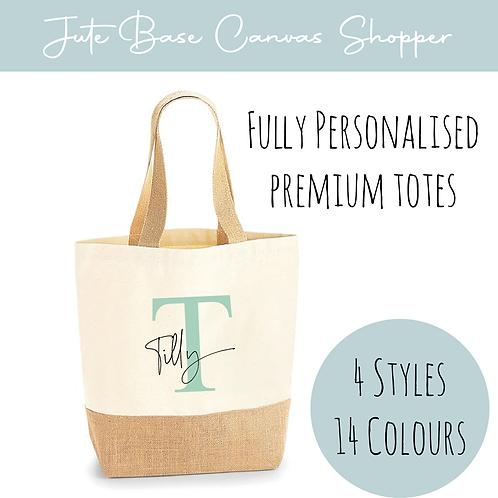 Cotton Canvas & Jute Base Shopper - Initial + Name