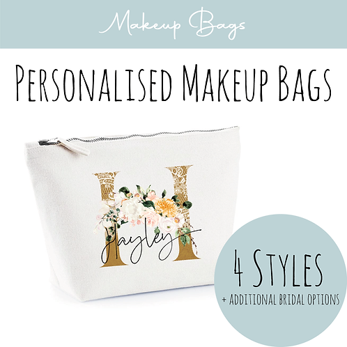 Canvas Makeup Accessory Bag - Personalised Copper & Floral