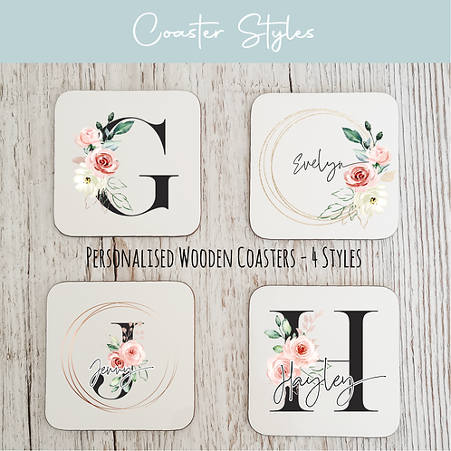 Personalised Wooden Coasters - Black & Floral