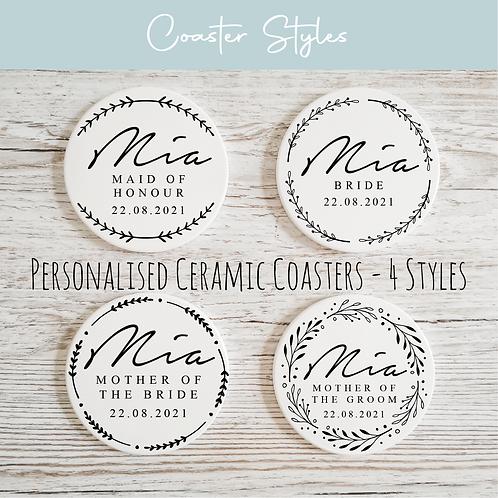 Personalised Ceramic Coasters - Wreath