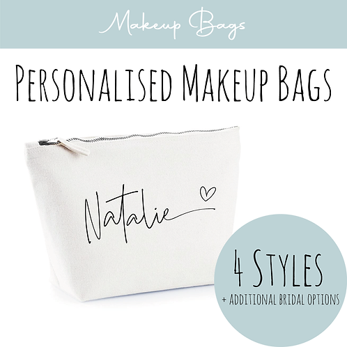 Canvas Makeup Accessory Bag - Personalised Name