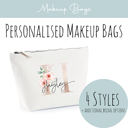 Canvas Makeup Accessory Bag - Personalised Rose Gold & Floral