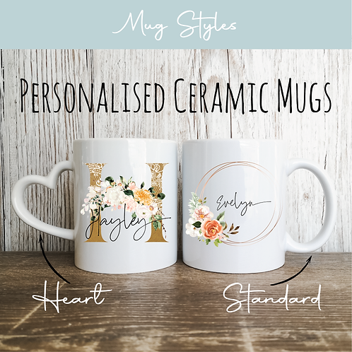 Personalised Mugs - Copper & Floral