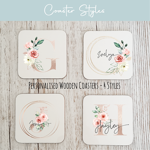 Personalised Wooden Coasters - Rose Gold & Floral