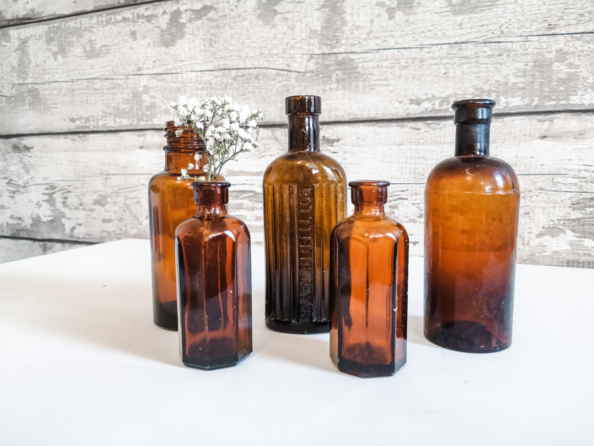 Antique Brown Glass Bottles