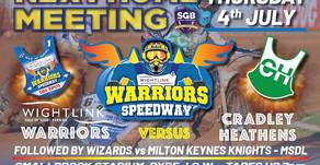 Meeting Preview - Warriors v Cradley (NL) & Wizards v Milton Keynes (MSDL)