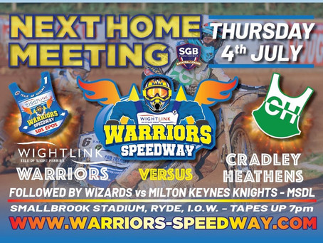 Meeting Preview - Warriors v Cradley (NL) & Wizards v Milton Keynes (MSDL)