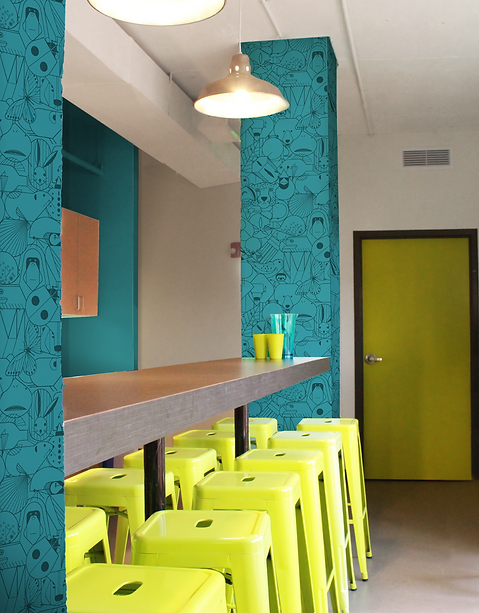 The IUCN office incorporates natural and industrial elements in with bright colors for an outdoorsy feel. Designed by bldg, Washington DC.