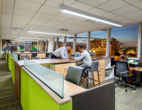 The Association of Fish and Wildlife Agencies office was designed by Bill London Design Group. Their workstations include desks and standing height conutertops for multiple workspace options.