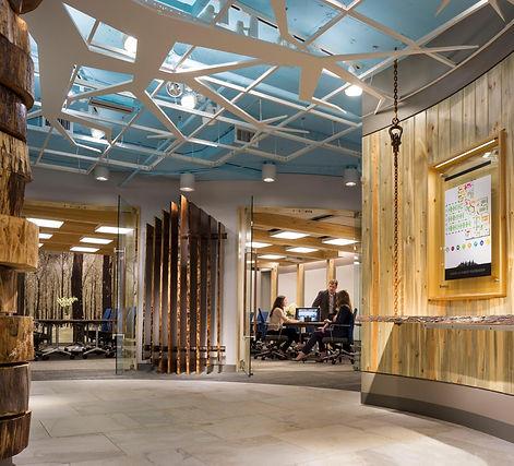 AFF lobby, wood, raw wood, totem pole