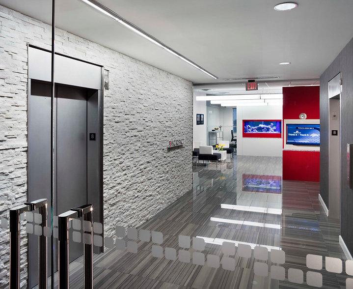 Micropact elevator lobby, fish tank, tandus centiva flooring