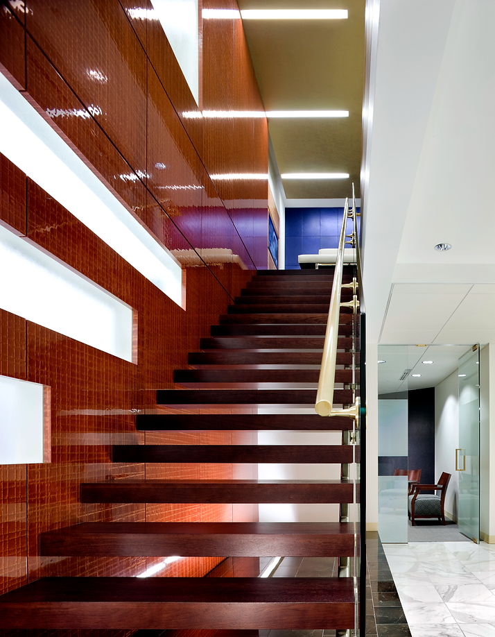 Custom stairway in Nelson Mullin's office.