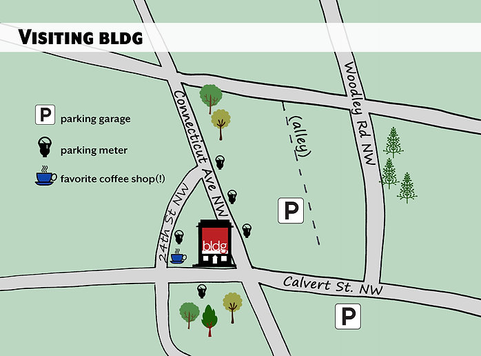 Parking around our office can be difficult. This map denotes parking garages and parking meters on Connecticut Ave.