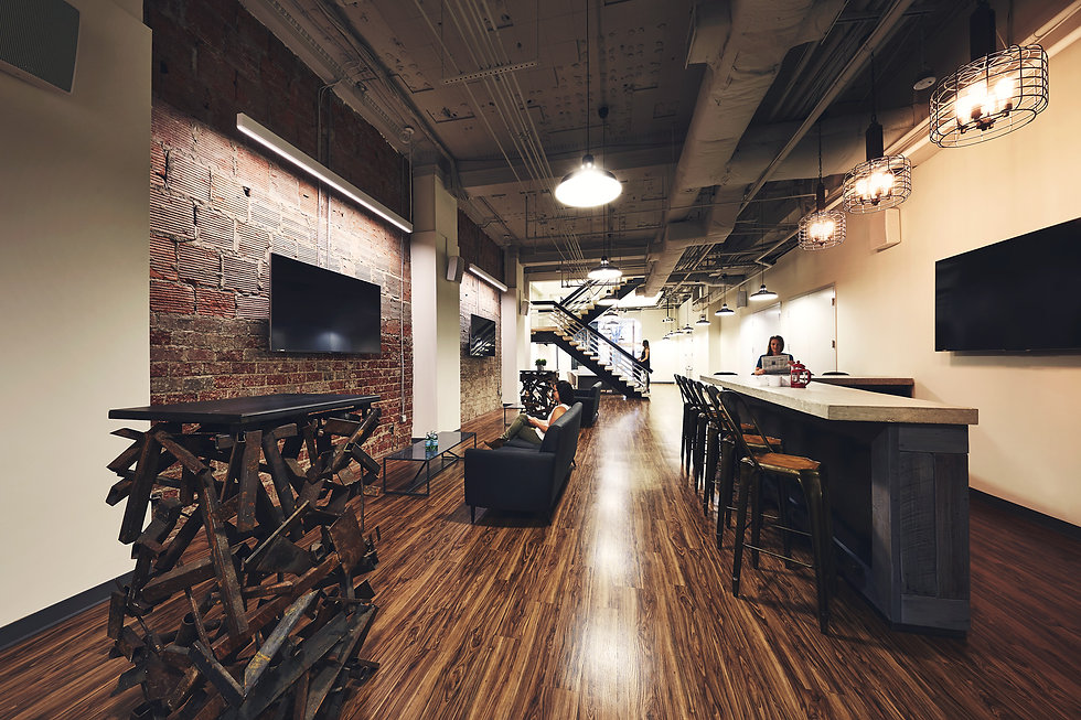 The first floor of Morning Consult's office space designed by Bill London Design Group (bldg) in Washington DC).