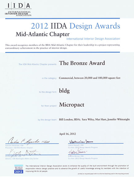 2012 IIDA Bronze Award for Bill London Design Group's office design for Micropact.