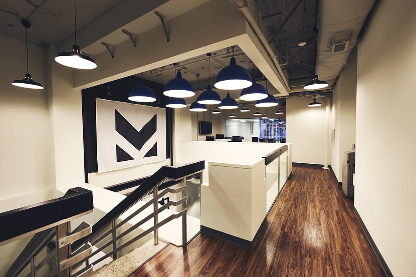 Morning Consult's office space designed by Bill London Design Group (bldg) in Washington DC). Commercial interior design.