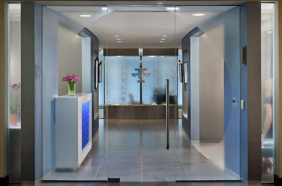 Ifrah Law office lobby andBill London Design Group designed a new office space for Ifrah's Law office. Water features evoke a calm and inviting atmosphere.