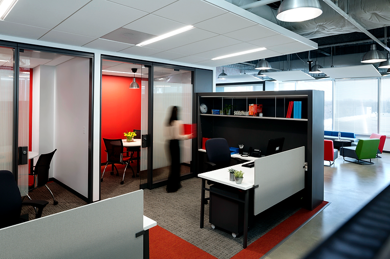 red walls, workstations, notable solutions