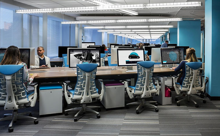 Workstations for a DC technolocy company, herman miller embody chair, designed by Bill London Design Group.