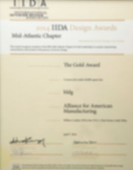 2014 IIDA Gold Award for Bill London Design Group's office design for the Alliance for American Manufacturing.