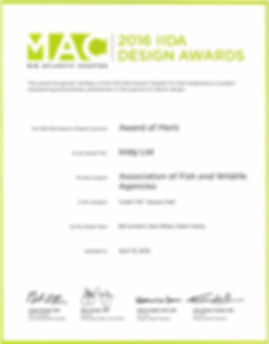 2016 IIDA Merit Award for Bill London Design Grouop's office design of the Association of Fish and Wildlife Agencies.