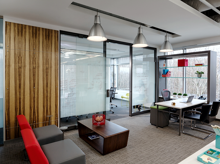 Notable solutions office channels the company's technology as inspiration for the physical space. It was designed by Bill London Design Group.