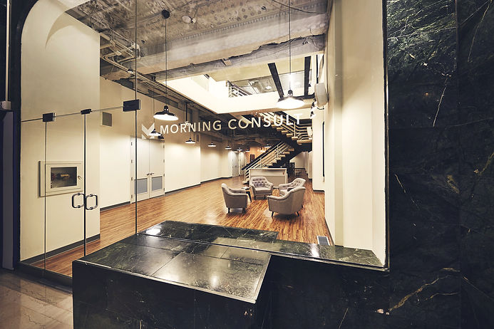 The entryway of Morning Consult's office space designed by Bill London Design Group (bldg) in Washington DC).