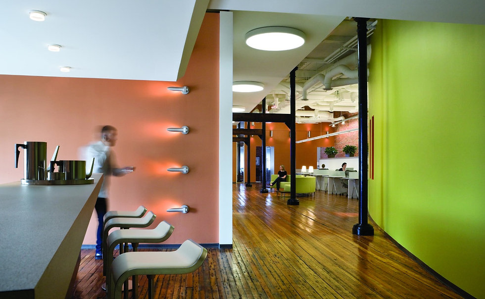 This bright and energetic office was designed by Bill London Design Group.