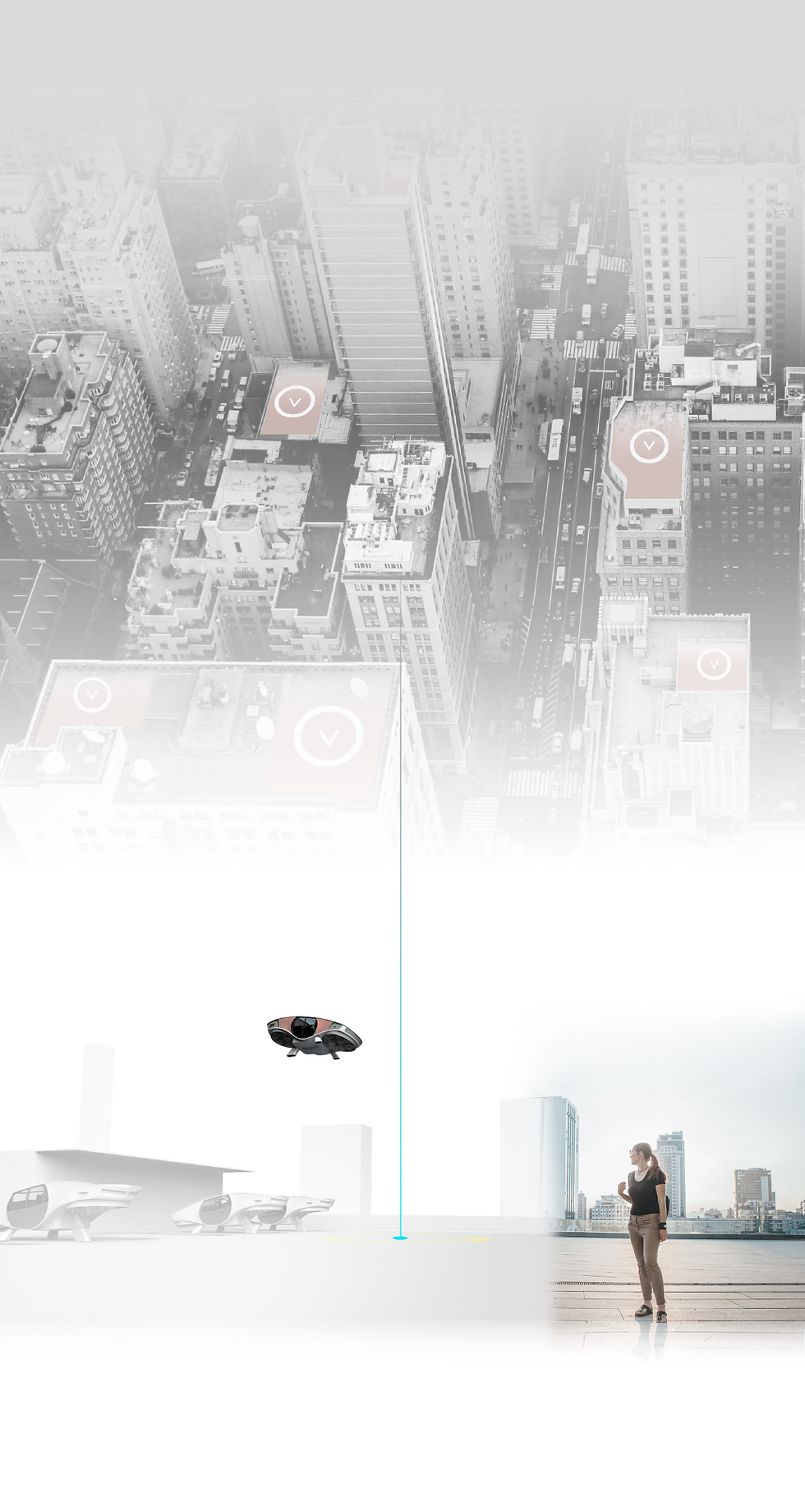 Flying vehicle connecting from point A to B on city rooftops