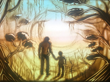 Father and son in the magic garden