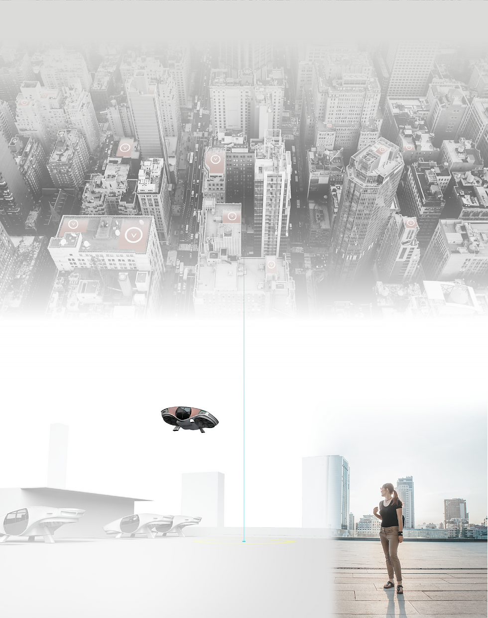 Urban Vtol connecting from point A to B on city rooftops