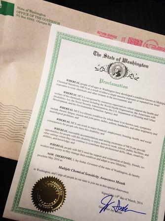 MCS Awareness Month Declared in Washington!