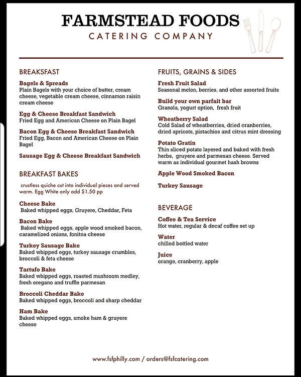 Farmstead Foods breakfast catering menu, Farmstead foods, Farmstead, catering, food catering, food truck, Philadelphia catering, food truck catering, Food truck catering services