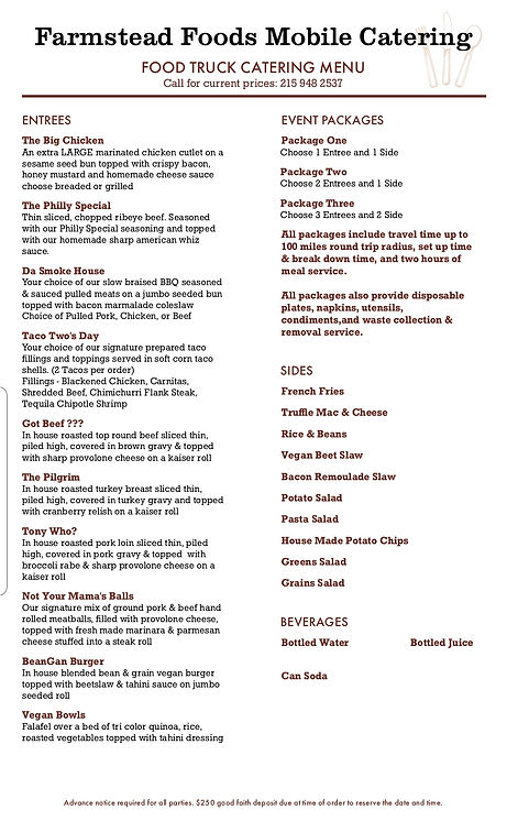Farmstead Food quick service food truc catering menu, Farmstead foods, Farmstead, catering, food catering, food truck, Philadelphia catering, food truck catering, Food truck catering services