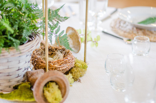 Getting creative with natural elements when the budget doesn't allow for flowers.