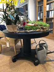 "42"" Round Black Pedestal Table"
